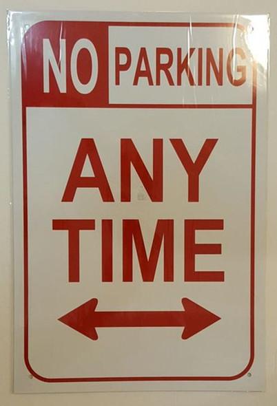 NO PARKING SIGN – WHITE ALUMINUM