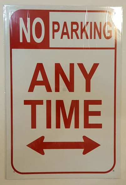 SIGNS NO PARKING SIGN – WHITE ALUMINUM