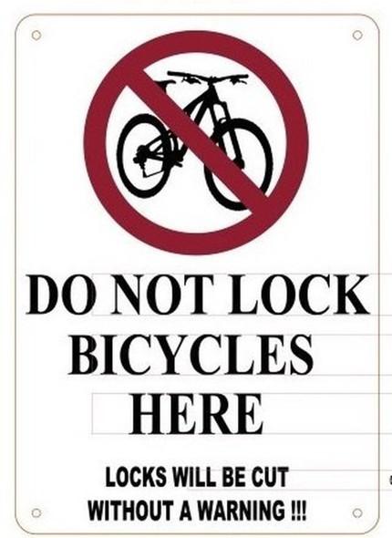 DO NOT LOCK BICYCLES HERE LOCKS