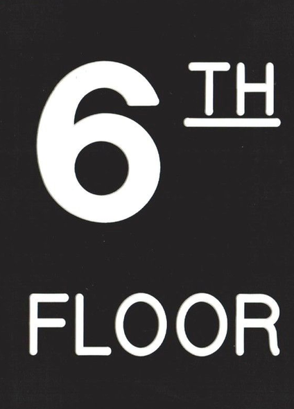 Floor number Six (6) sign Engraved