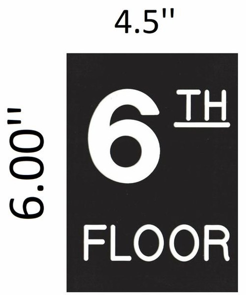SIGNS Floor number Six (6) sign Engraved