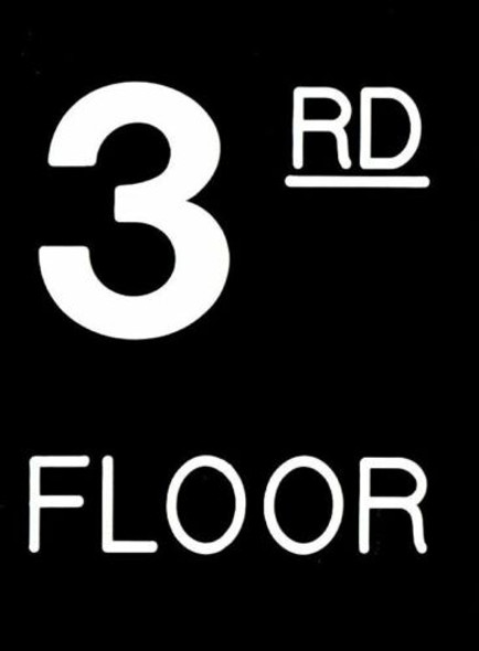 Floor number Three (3) sign Engraved
