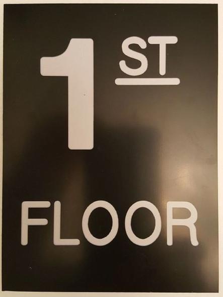 Floor number one (1) sign Engraved