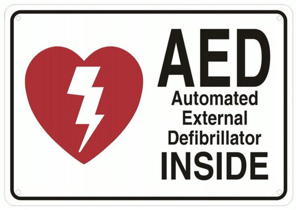 AED INSIDE SIGN- AUTOMATED DEFIBRILLATOR INSIDE