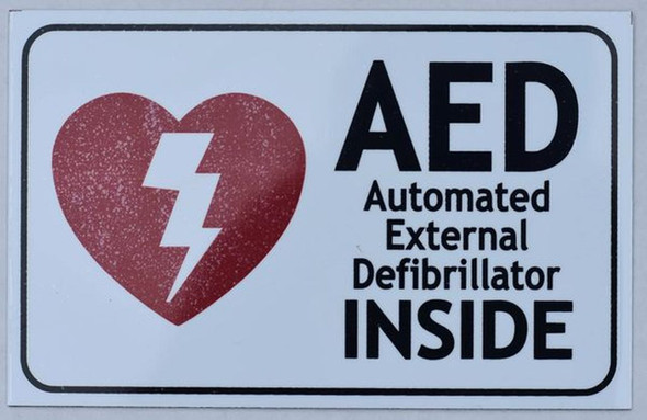 SIGNS AED INSIDE SIGN- AUTOMATED DEFIBRILLATOR INSIDE