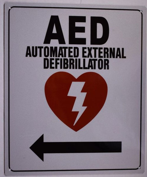SIGNS AED LEFT SIGN- AUTOMATED DEFIBRILLATOR TO