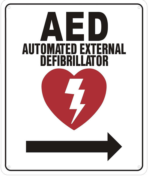 AED RIGHT SIGN- AUTOMATED DEFIBRILLATOR TO