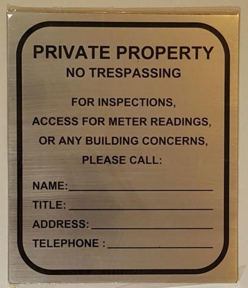 BUILDING ACCESS CONTACT SIGN– BRUSHED ALUMINUM