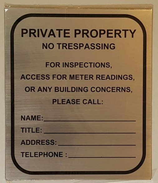 SIGNS BUILDING ACCESS CONTACT SIGN– BRUSHED ALUMINUM