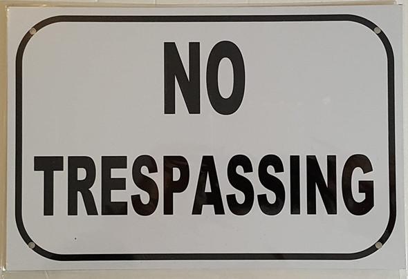 NO TRESPASSING SIGN – WHITE ALUMINUM