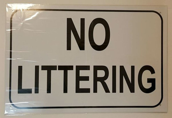 NO LITTERING SIGN – WHITE ALUMINUM