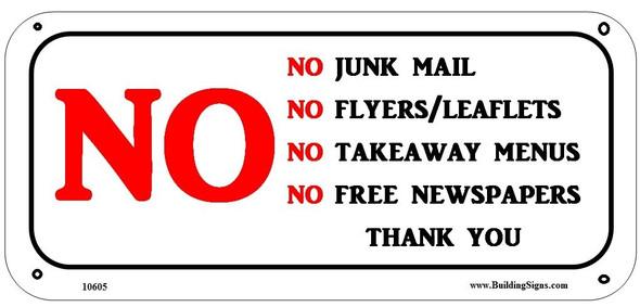 No Junk Mail Sign (Aluminum Signs