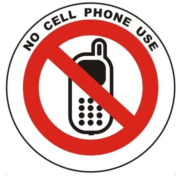NO CELL PHONE USE SIGN (ROUND