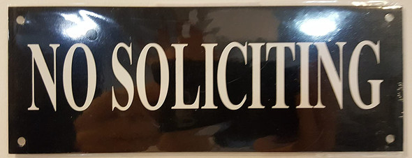 NO SOLICITING SIGN - BLACK BACKGROUND