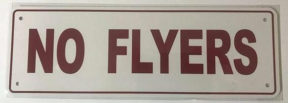 SIGNS NO Flyers Sign (Aluminum Sign, 4X12)