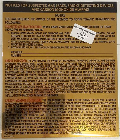 SIGNS GOLD HPD COMBINED NOTICE SIGN 12.12.1-THE