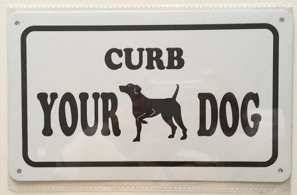 SIGNS CURB YOUR DOG SIGN- WHITE BACKGROUND