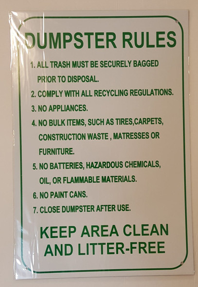 SIGNS DUMPSTER RULES SIGN – WHITE ALUMINUM