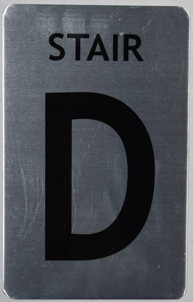 Stair D Sign (Brush Aluminium, 5X8)-The