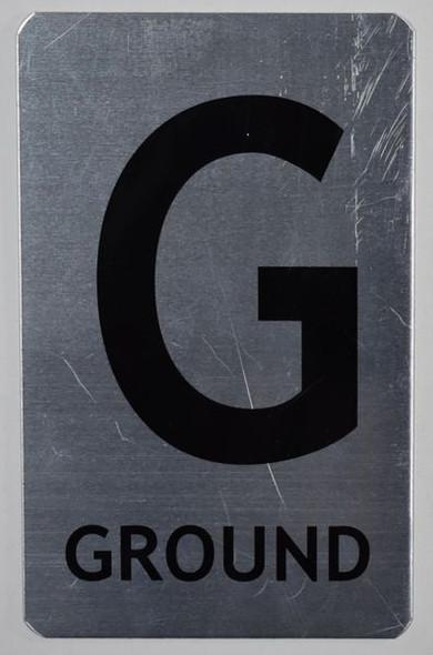 Ground Floor Number Sign (Brush Aluminium,