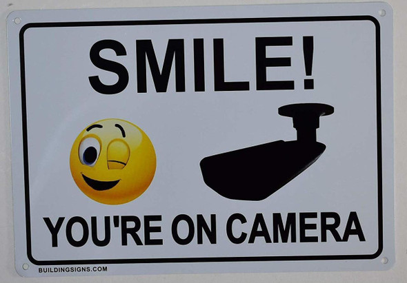 Smile You're On Camera Sign (White,