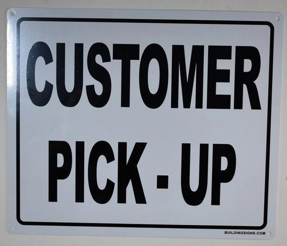 Customer Pick UP Sign -(White, Rust