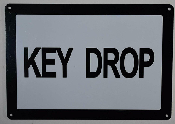 SIGNS Key Drop Sign (White, Rust Free