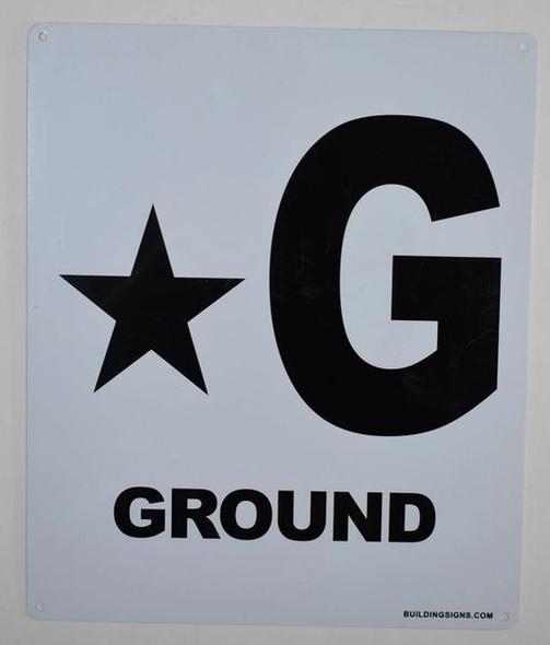 Star Ground Floor Sign (White, Rust