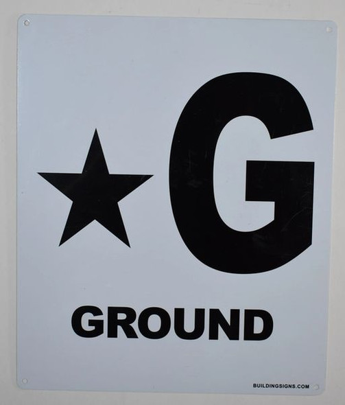 SIGNS Star Ground Floor Sign (White, Rust