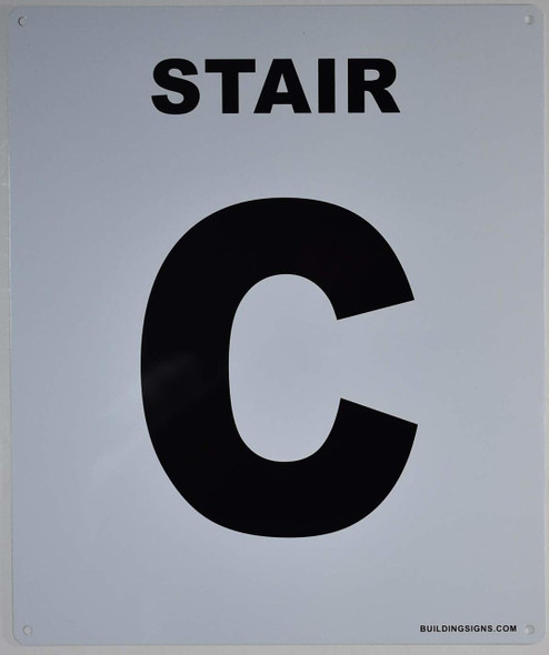 SIGNS Stair C Sign (White, Rust Free