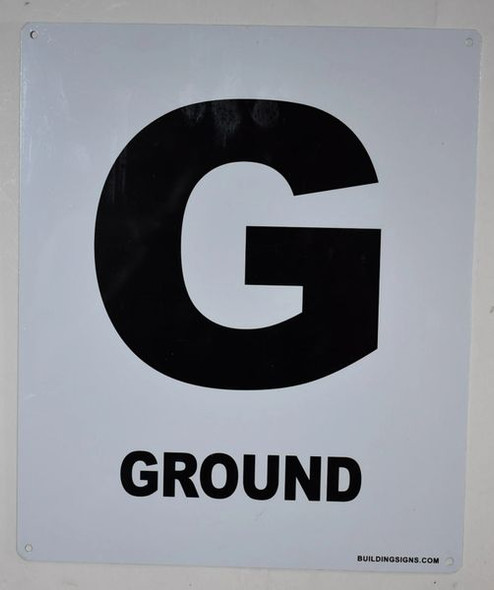 SIGNS Ground Floor Sign (White, Rust Free