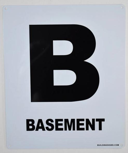 Basement Floor Sign (White, Rust Free
