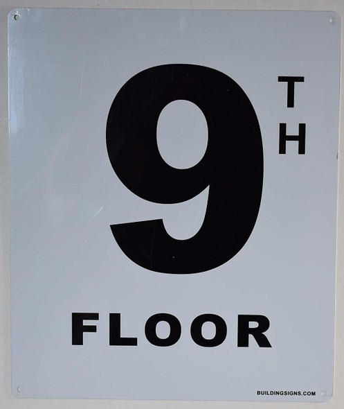 9th Floor Sign (White, Rust Free