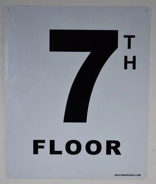 7th Floor Sign (White, Rust Free
