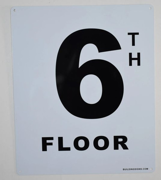 6th Floor Sign (White, Rust Free