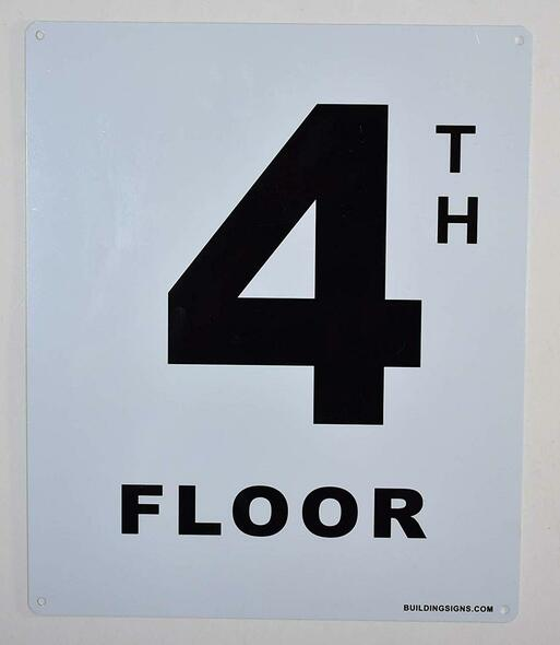 SIGNS 4th Floor Sign (White, Rust Free
