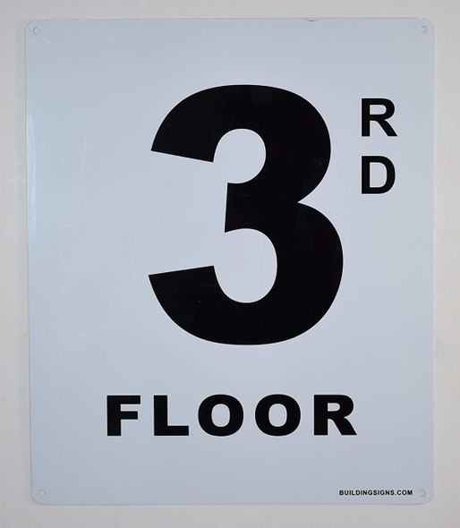3rd Floor Sign (White, Rust Free