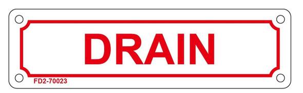 DRAIN SIGN (WHITE, ALUMINUM SIGNS 2X7)-(ref062020)