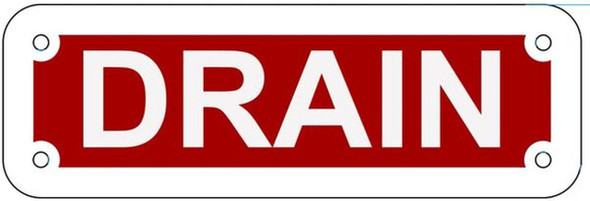 DRAIN SIGN- REFLECTIVE !!! (RED,ALUMINUM, 2X6