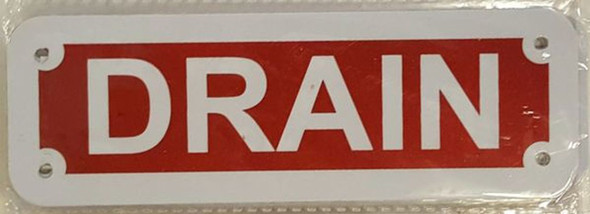 SIGNS DRAIN SIGN- REFLECTIVE !!! (RED,ALUMINUM, 2X6