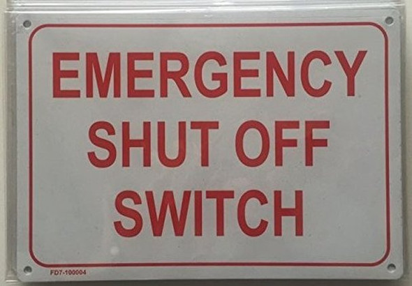 SIGNS Emergency Shut Off Switch Sign (White