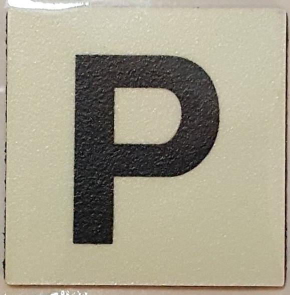 PHOTOLUMINESCENT DOOR IDENTIFICATION NUMBER P SIGN