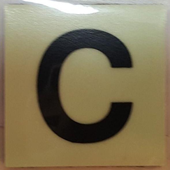 PHOTOLUMINESCENT DOOR IDENTIFICATION NUMBER C SIGN