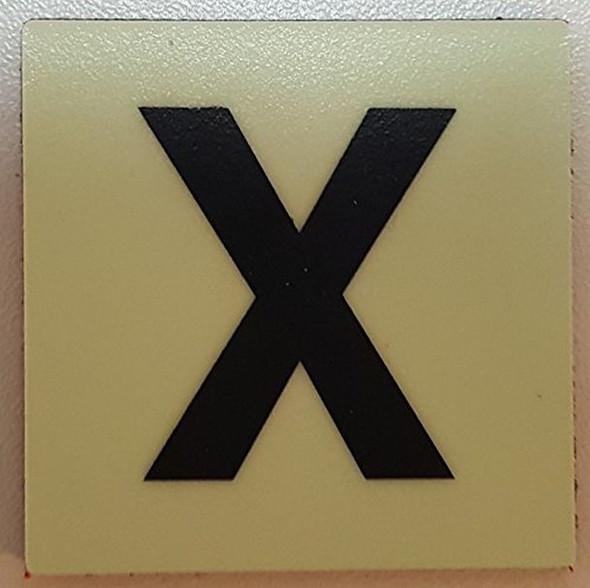 PHOTOLUMINESCENT DOOR IDENTIFICATION LETTER X SIGN