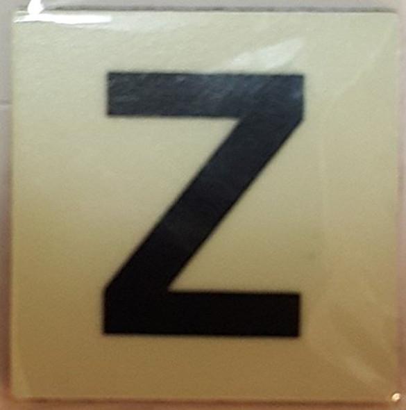 PHOTOLUMINESCENT DOOR IDENTIFICATION LETTER Z SIGN