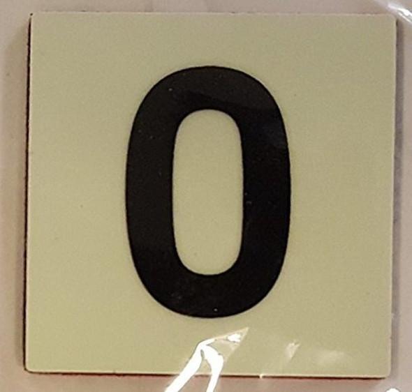 SIGNS PHOTOLUMINESCENT DOOR IDENTIFICATION NUMBER 0 (ZERO)