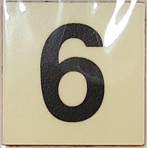 PHOTOLUMINESCENT DOOR IDENTIFICATION LETTER 6 (SIX)