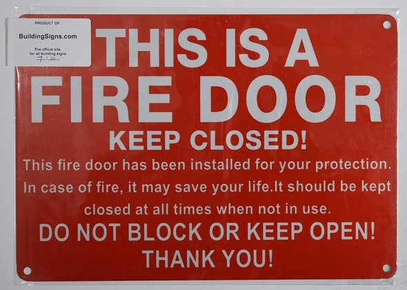 SIGNS FIRE Door Keep Closed Sign (Reflective
