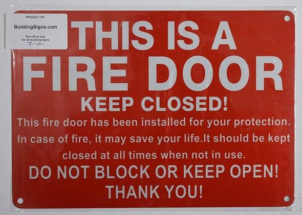 FIRE Door Keep Closed Sign (Reflective