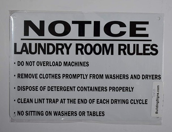 SIGNS Laundry Room Rules Sign (White,Aluminum 7X10)-(ref062020)